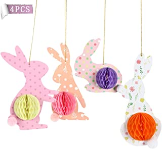 Fruitful Party 4Pcs Bunny Decorations For Home, Colorful Rabbit With 3D Honeycomb Paper Egg Ball, Hanging In Varities Occa...