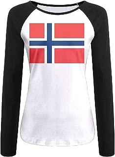 Womens Classic Raglan Long Sleeve T Shirt Norwegian Flag Round Neck Baseball Tee Shirt for Women