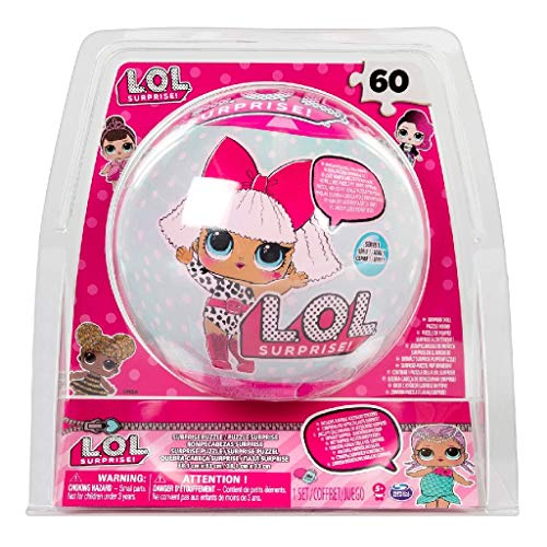 Cardinal Games 6042054 - LOL Doll SphereTin-Puzzle, 60 Teile, Poster und Sticker, L.O.L. Surprise