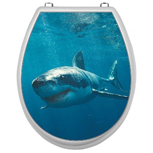 Aufkleber für Toilettensitz Klodeckel Aufkleber WC Sitz Aufkleber - Motiv Hai