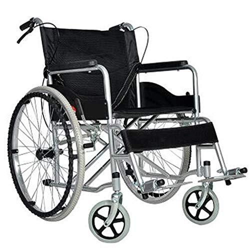 YYSDH Veelzijdige Super Lichtgewicht draagbare rolstoel, aluminiumlegering Comfortabele rug Opblaasbare band met remmen anti-val apparaat voor ouderen/gehandicapten