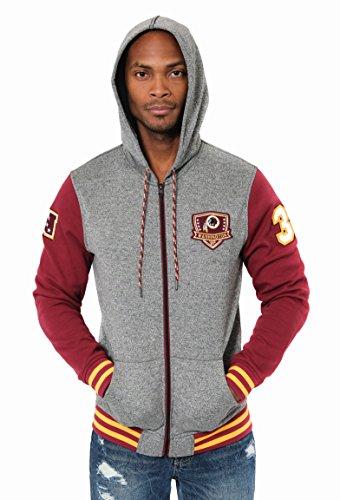 Ultra Game ICER Brands NFL Herren Fleece-Kapuzenpullover Letterman Varsity Jacket, Teamfarbe, Herren, Full Zip Fleece Hoodie Letterman Varsity Jacket, Team Color, Burgunderrot, Medium