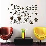 Tienda de mascotas etiqueta de la pared gato perro pata impresión corazón salón tatuajes de pared decoración vinilo adhesivo animal para niños habitación 88Cmx59Cm