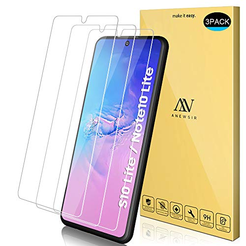 ANEWSIR 3X Vetro Temperato Compatibile per Samsung Galaxy S10 Lite/Note 10 Lite, 9H Durezza Ultra Resistente [Anti-Graffo/Olio/Impronta] Compatibile per Samsung S10Lite/Note 10 Lite.