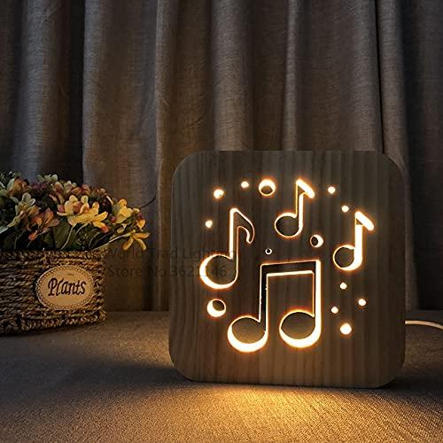 LED 3D Luces de madera USB Operado Lámpara de ánimo de cálido Notas musicales Ilusión 3D Luminaria Lámpara Música Amante de cumpleaños Regalos Dormitorio Decoración ( Emitting Color : FS-T1880W )