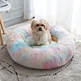 Calming Dog Bed & Cat Bed, Anti-Anxiety Donut Dog Cuddler Bed, Warming Cozy Soft Dog Round Bed, Fluffy Faux Fur Plush Dog Cat Cushion Bed for Small Medium Dogs and Cats (20'/24'/27'/30')