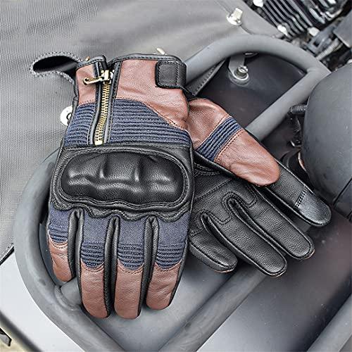 Pokem&Hent Guantes de moto de vaquero retro de cuero para hombre, guantes de carreras de motocicleta, deportes al aire libre, color marrón XXL