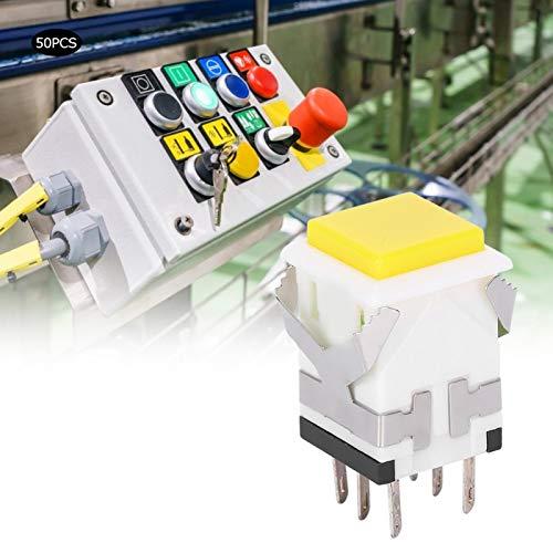 Interruptor de botón pulsador de 50 piezas Interruptor de botón pulsador de enclavamiento 12V Botón pulsador momentáneo Industrial(5V)