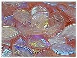 Apple Leaf Beads, 18x13mm, 15pcs, Cuentas de vidrio prensadas checas en la forma de hoja de manzana, agujero frontal superior, Rosaline/AB (light pink transparent with rainbow decor)