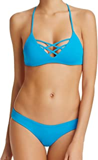 LSpace 2 Piece Bikini Set - Reversible JoJo Strappy Cross Front Bralette Swimsuit Top & Sandy Hipster Pant Medium