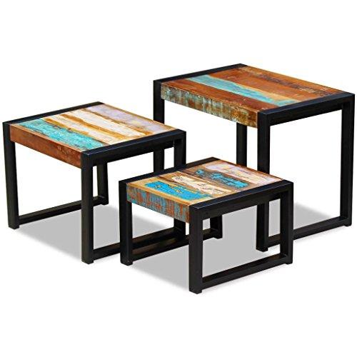vidaXL Set 3 Tavolini ad Incastro da Salotto in Legno Massello Anticato