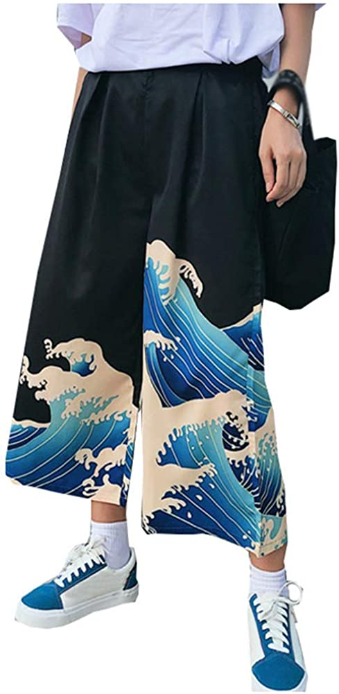 LifeShe Women Japanese Loose Ranking TOP9 Bargain sale Trousers Wide Leg Cropped P Printed