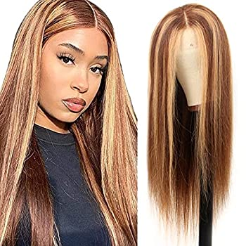 Ombre Highlight Lace Front Wigs Human Hair Brazilian 4/27 Ombre Human Hair Wigs for Black Women 13x1 Straight Lace Front Wigs 150 Density Pre Plucked with Baby Hair smoora  18Inch Straight