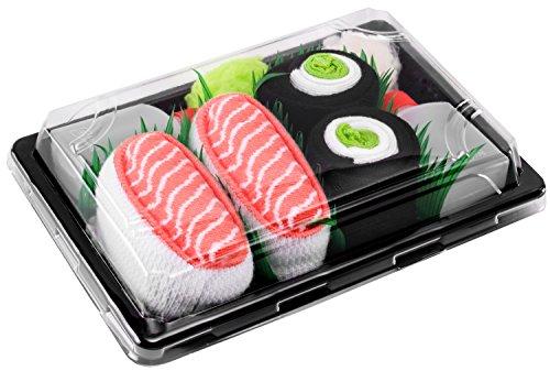 Sushi Socks Box - 2 paires de Sushi CHAUSSETTES en Coton: Saumon Nigiri Concombre Maki - CADEAU CRÉATIF pour Fammes et Hommes, Saumon, Concombre Maki, 36/40