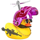 wonuu Rubber Yellow Duck Toy Car Ornaments Cool Duck Car Dashboard Decorations with Propeller Helmet Sunglasses (Colorful Pink-Yellow G)