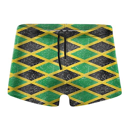 Kimisoy Jamaica Jamaican Flag Caribbean Men's Swim Trunks Quick Dry Swimwear Stretch Surf Swimming Shorts L Black
