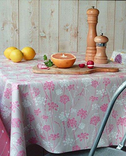 Fleur de soleil ~ Nappe Herbes folles Rose Coton Enduit 120x120
