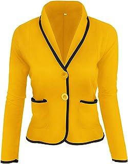 Yczx Women's Blazers Casual Lapel Collar Office Blazer with Pockets Short Suits Jackets Work OL Elegant Blazer Long Sleeve...