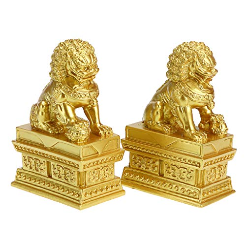 MDLUU Feng Shui Lion Statues, Pair of Guardian Lions, Fu Foo Dogs for Cash Register, Office Desk, House Warming, Store Opening Gift, Gold
