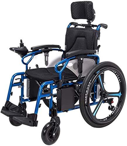 WXDP Potencia autopropulsada eléctrica ligera plegable para adultos discapacitados 360 °; ancho inteligente del asiento del joystick 46 cm ancianos 4 ruedas durable motor al aire libre