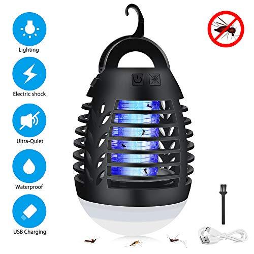 Sunvook Elektrischer UV Insektenvernichter 2-in-1 Mückenfalle Elektrisch IPX6 Wasserdicht Mückenlampe LED mit 2200mAh Silica Gel Anti-Fall USB Wiederaufladbarer Indoor Outdoor mit Einziehbarem Haken …