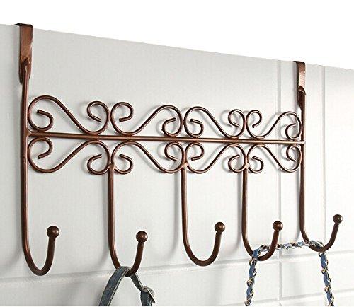 PERRIROCK 5 Hanger Rack - Decorative Metal Door Hooks Hanger Holder for Home Office Kitchen Use Coat Hook Rack (Brown)