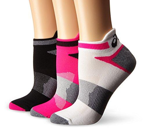 ASICS Women's Quick Lyte Cushion Single Tab Running Socks, Turquoise/Chrystal Blue, Medium,Pack of 3