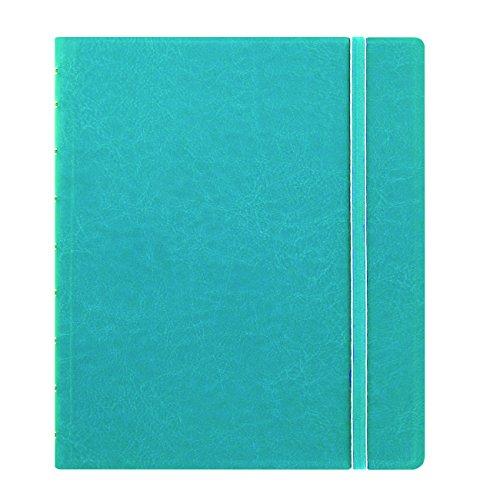 FILOFAX Caderno clássico recarregável, 23,5 cm x 18,4 cm Aqua – Capa elegante de couro com páginas móveis – Fecho elástico, índice, bolso e marcador de página (B115906U)