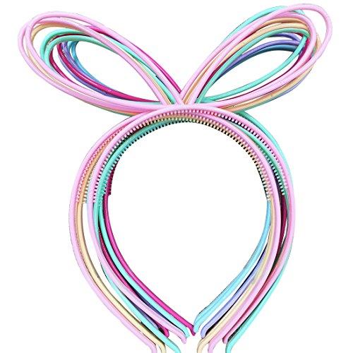 XIMA 12 diademas de plástico con orejas de conejo para niñas, diademas de conejo, diademas para el pelo (SP-Rabbit Ear)