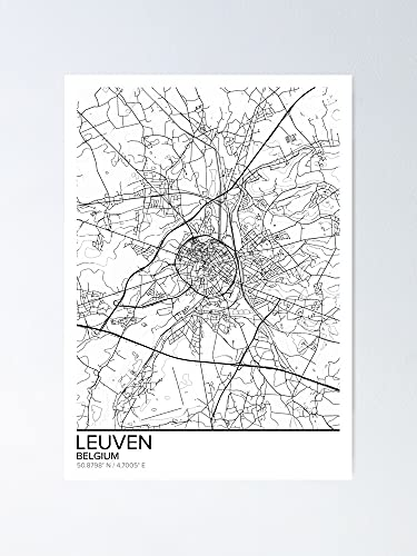 AZSTEEL Leuven Map Poster Print Wall Art Belgium Gift Printable Home and Nursery Modern Decor for Office Map Art Gifts Poster Best Mothers Day