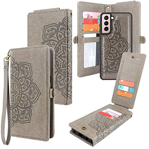 CMIDUS [10 Card Slots] Detachable Magnetic PU Leather Flip Wallet Case with Wrist Strap Kickstand Removable Cover for Samsung Galaxy S21 6.2