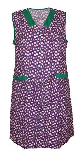 Damenkittel Kittel Schürze Hauskleid ohne Arm Baumwolle bunt, Farbe:Dessin 4, Größe:38