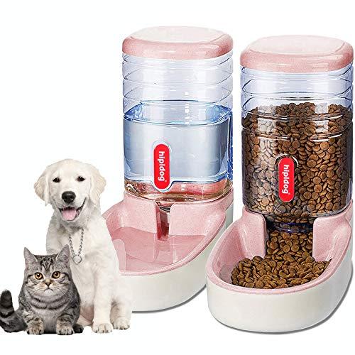 XingCheng-Sport Alimentador automático para Mascotas pequeñas y Medianas. Alimentador automático y dispensador de Agua 3.8L (Pink)