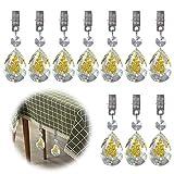 Glarks 10 Stück Goldfarbene Rosenform AB Kristall Glas Prismen Anhänger Tischdecke Gewichte mit 10...
