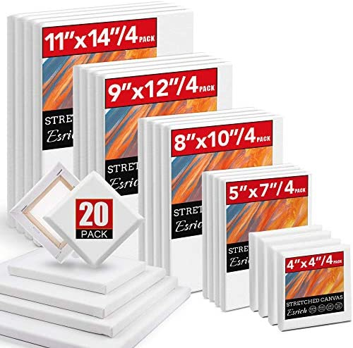 20 Packs Stretched Canvases with Multi Pack 4x4 5x7 8x10 9x12 11x14 4 of Each Primed White Blank product image