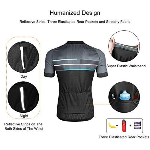 LAMEDA Kurzarm Radtrikot Fahrradtrikot Herren T-Shirt Jersey Radsport Funktionsshirt Elastische Atmungsaktive Schnell Trocknen Stoff(Blau S) - 2