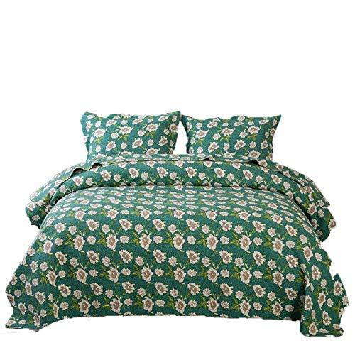 Colchas Acolchadas Edredón Doble King Size Verde 100% Algodón Suave Elegante Patrón Floral Reversible Patchwork Mantas Colchas Edredón De Verano Funda De Cama De Invierno 230x250cm Con 2 Fundas De Alm