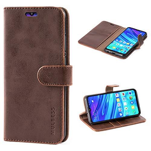Handyhülle für Honor 10 Lite Hülle, Leder Flip Case Schutzhülle für Huawei P Smart 2019 / Honor10 Lite Tasche, Vintage Braun