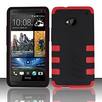 TRENDE - HTC One Phone Case Black on Red Tuff Armor Fusion Design Rugged Rubberized Cover + Free Gift Box  Compatible Models  HTC One M7