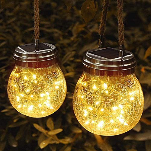 COMY Hanging Solar Lanterns 2 Pack Solar Lanterns Outdoor Waterproof, Table Lamps Decorative Cracked Glass Jar 20 LED Lights for Garden Tree Patio Pathway Christmas Decoration (Warm White)