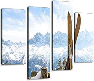 Vintage skis with Mont Blanc Massif Behind Canvas Wall Art Hanging Paintings Modern Artwork Abstract Picture Prints Home Decoration Gift Unique Designed Framed 4 Panel