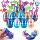Easter Eggs 12 Pcs Filled with Unicorn Galaxy Slime,AJK Fluffy Colorful Putty DIY Kit,Charming Gift Box for Easter Theme Party & Easter Basket Stuffer