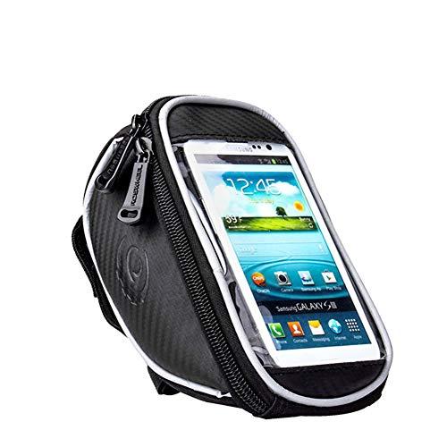 Bolsa Bicicleta Impermeable Bolsa Movil Bici con Ventana para Pantalla Táctil, Bolsa para Cuadro Bicicleta Montaña para Smartphones de hasta 5.5'