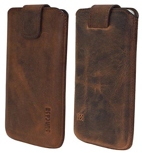 Original Suncase Tasche für / Samsung Galaxy S5 mini (SM-G800F) / Leder Etui Handytasche Ledertasche Schutzhülle Case *Lasche mit Rückzugfunktion* Hülle / antik-coffee
