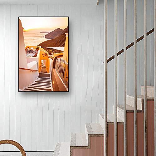ARTTONIT Lienzo Moderno, Pintura de Estilo mediterráneo, Carteles de construcción Junto al mar Egeo, impresión de Cuadros de Pared, Sala de Estar, decoración del hogar, 50x70cmx1 sin Marco