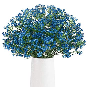BOMAROLAN Artificial Baby Breath Flowers Fake Gypsophila Bouquets 12 Pcs Fake Real Touch Flowers for Wedding Decor DIY Home Party  Dark Blue