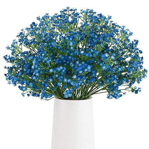 BOMAROLAN Artificial Baby Breath Flowers Fake Gypsophila Bouquets 12 Pcs Fake Real Touch Flowers for Wedding Decor DIY Home Party (Dark Blue)