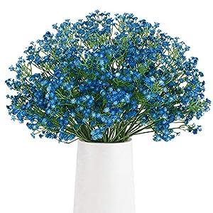Silk Flower Arrangements BOMAROLAN Artificial Baby Breath Flowers Fake Gypsophila Bouquets 12 Pcs Fake Real Touch Flowers for Wedding Decor DIY Home Party (Dark Blue)