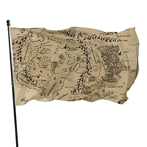GOSMAO Bandera de jardín Mapa de la Tierra Media Color Vivo y Resistente a la decoloración UV Bandera de Patio de Doble Costura Bandera de Temporada Banderas de Pared 150X90cm