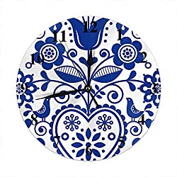 Moslion Floral Wall Clock Scandinavian Folk Art Souvenir Ornament Navy Blue Round Wall Clock Home Decor Wall Clock for Living Room Bedroom Kitchen Office